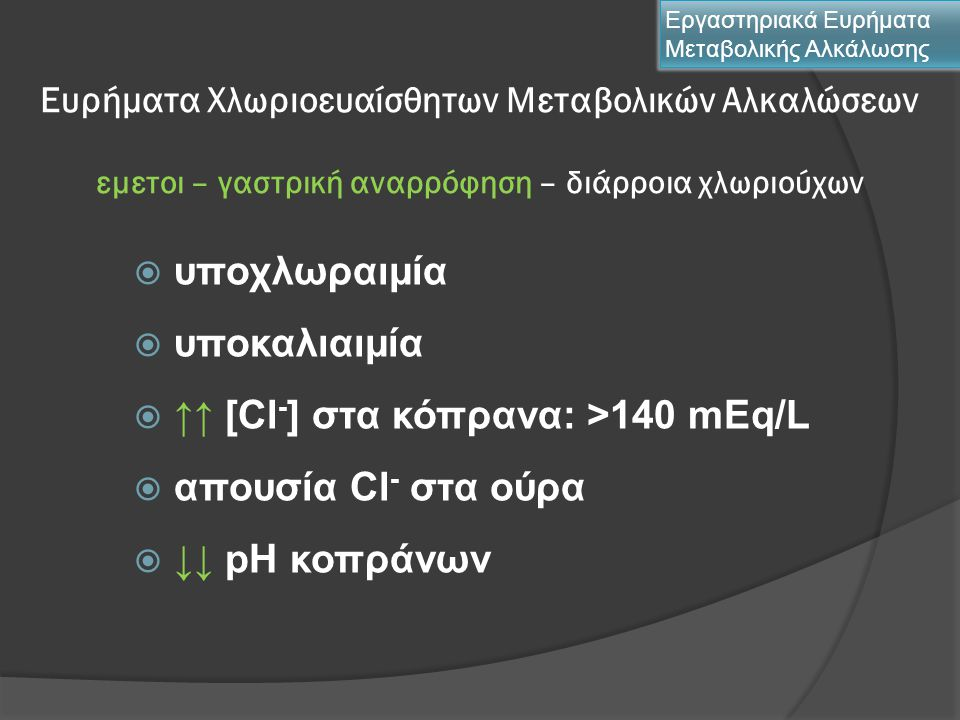 ↑↑ [Cl-] στα κόπρανα: >140 mEq/L απουσία Cl- στα ούρα